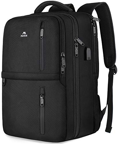 Carry On Luggage Backpack,Travel Laptop Backpack with Shoe Compartment USB Charging Port for Women Men,Matein Anti-Theft Lightweight Business College Computer Bookbag Fit 15.6 inch Notebook,Black