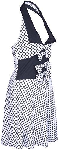 Küstenluder MABLE Polka Dots BOW Neckholder SWING Kleid Rockabilly – Weiß - 5