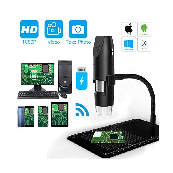 Laaguu Wireless Digital WiFi USB Microscope 1080P 50X-1000X HD Magnification Microscopy with 8 LEDS for iPhone, iPad, Android Smartphone, Mac, Windows