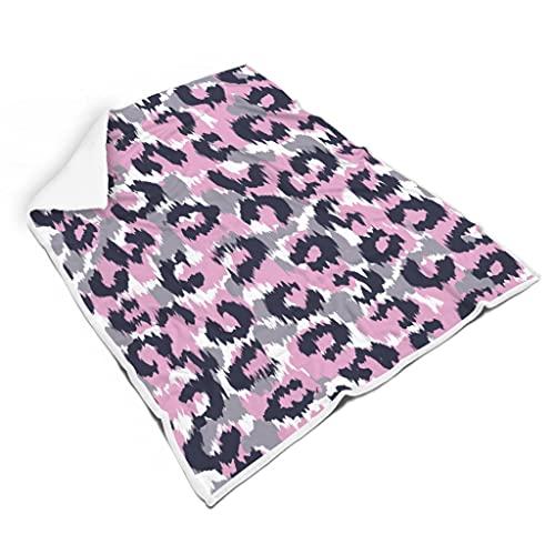 Raainhao Manta de franela decorativa de color rosa y gris con estampado de leopardo, cómoda de primera calidad para sofá, anime, para niños, adultos, unisex, blanco, 60 x 80 pulgadas