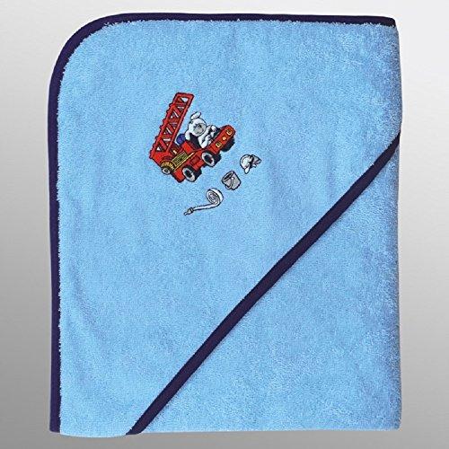 Mauz Grande serviette de bain à capuche en tissu éponge 100 x 100 cm (pompiers bleu)