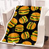 ARIGHTEX 3D Cheeseburger Throw Blanket French Fry Hamburger Print Blankets Funny Creative Black Fleece Blanket (60 x 80 Inches)