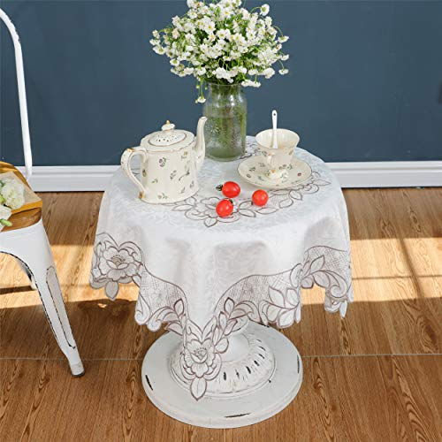 Elegant Grey Embroidery Floral Dining Home Room Small Table Cover Topper Cloth