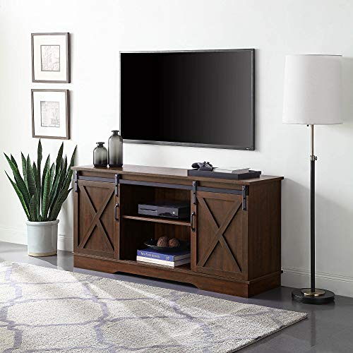 BELLEZE Modern Vintage Farmhouse Style 58 Inch TV Stand W/Sliding Door Media Console Table Storage with Wooden Frame, Espresso