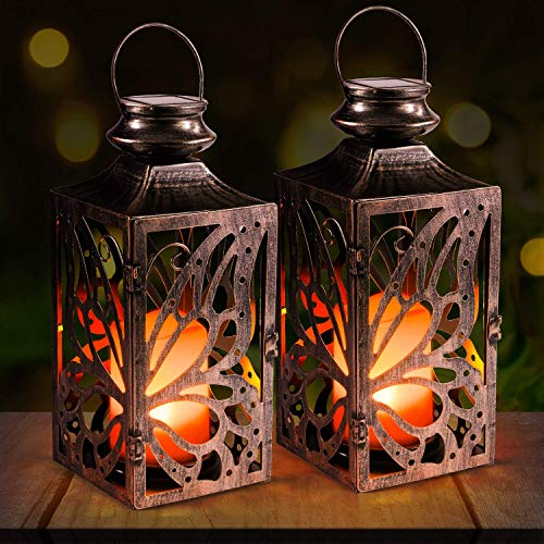Solar Lantern,OxyLED 2 Pack Flickering Solar Candle Garden Lamps Hanging Butterfly Lantern IP44 Waterproof LED Solar Deco Landscape Lighting for Patio Backyard Pathway Warm White