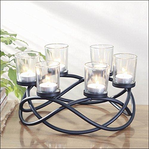 Benelando Kerzenhalter aus Metall und Glas für 6 Teelichter