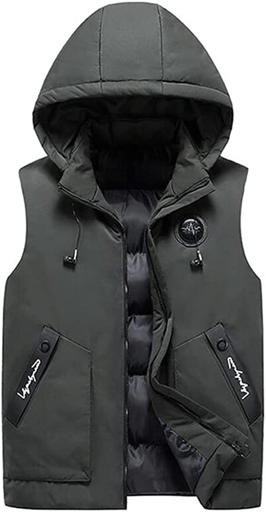 Autumn Sleeveless Winter Padded Coat Hooded Zip Vest Coats Men Hoodies