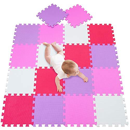 meiqicool Puzzlematte Spielmatte Uni Bunt 18-TLG. Spielteppich Schaumstoff Puzzle Kinderteppich