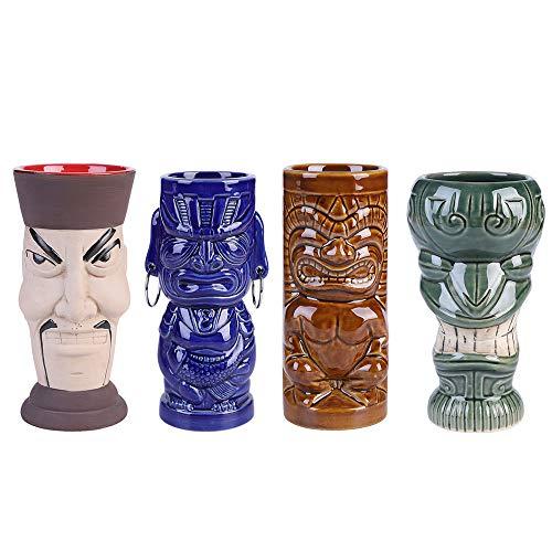 (14€/PC)Tiki Mug Tiki Tazas Set of 4 -Copa de cóctel Tiki Bar Vasos para Cocktails,4 piezas/juego, caja de regalo, con pajita,Tazas Tropicales Premium Juego de 4Bebidas para Fiesta Exótica