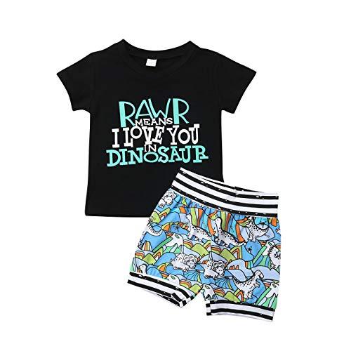 Kleinkind Baby Junge Shorts Kleidung Set, Sommer Cartoon Brief gedruckt T-Shirt Tops + Camouflage Dinosaur Shorts Outfits Set (6-12 Monate, Schwarz)