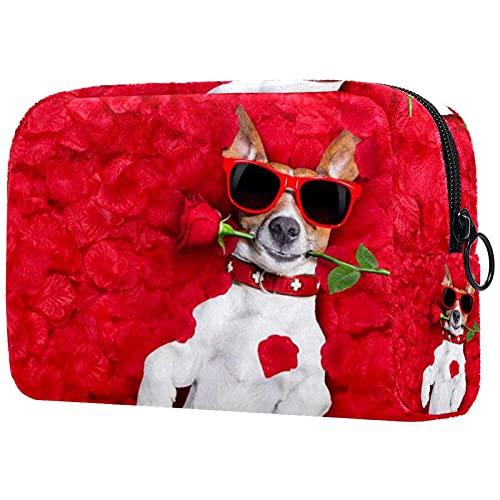 Neceser de Viaje para cosméticos Bolsa de Maquillaje con Cierre de Cremallera portátil Diaria,Perro en Cama de Rosas