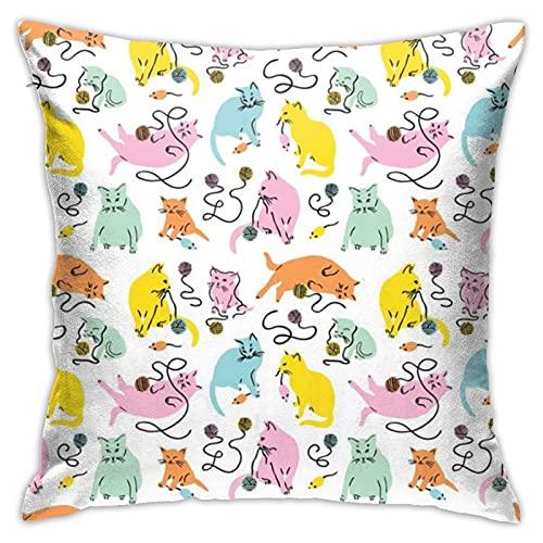 87569dwdsdwd Kitty Wonderland Rainboweyestudio Throw Pillow Cover Pillow Cases For Home Decor Design Cushion Case For Sofa Bedroom Car 18 X 18 Inch 45 X 45 Cm
