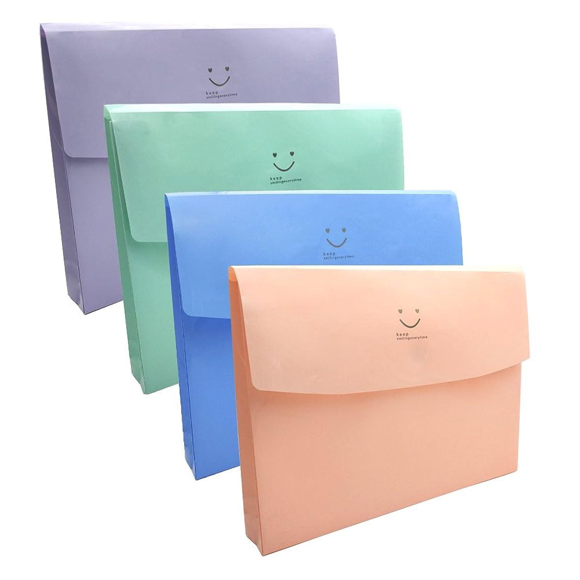 槍インレイガードMinniLove A4 ファイルケース,防水,収納バッグ,ドキュメントバッグ,ファイルケース,ファイルバッグ,書類ケース,スナップバッグ 整理袋,手形資料クリップ,文書 資料 領収書 収納ケース,ファイルポケット,携帯に便利 (4色入-N)