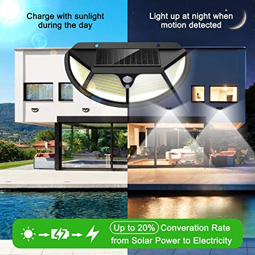 Solar Lights Outdoor Motion Sensor [102 LED/6 Pack/3 Working Modes] LANSOW Security Lights IP65 Waterproof 270°Wide Angle Lighting Wall Lights for Garden Fence Deck Yard Garage Pathway(Black)