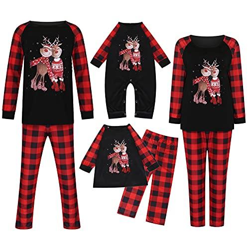 Christmas Pajamas for Family Matching Pjs Set, Xmas Deer Printed Red Plaid Jammies Holiday Casual Sleepwar Suit