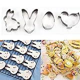 4 unids Conjunto Biscuit de acero inoxidable Molde de galletas de Pascua Utensilios de cocina de Pascua Cortador de galletas 3D DIY Decoración para hornear Decoración Pastelería Modelado Herramientas