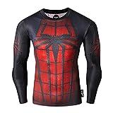 Fringoo - Sudadera térmica de compresión para hombre, superhéroe, capa superior de base para gimnasio, manga larga, para correr, entrenamiento