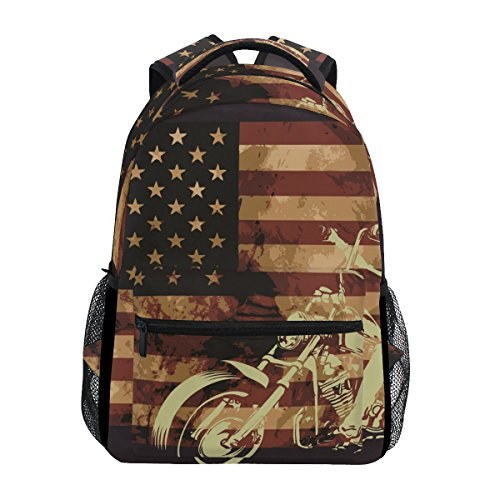 TIZORAX - Mochila con Bandera de Estados Unidos con Calavera para Moto