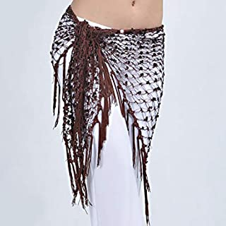 Fascigirl Women Belly Dance Waist Chain Belt Sequins Hip Wrap Scarf with Tassels
