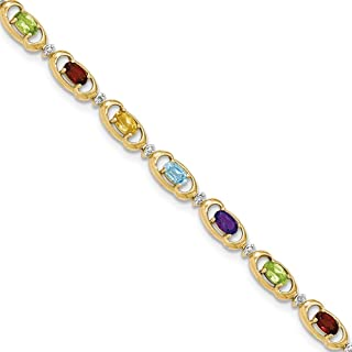 Solid 14k Yellow Gold Rainbow Gemstone/Diamond Bracelet Mothers day fine jewelry gift for women