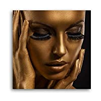 キャンバスプリントゴールデンアフリカ女性メイクビューティーポスターウォールアートキャンバス絵画写真リビングルーム家の装飾(40x40cm)フレームレス