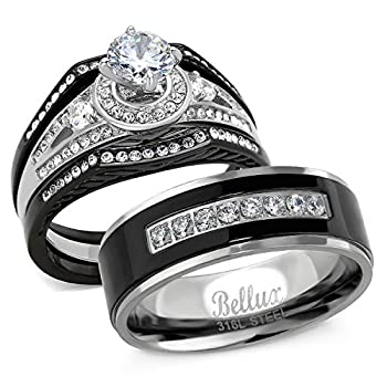 Bellux Style His and Hers Wedding Ring Sets Stainless Steel CZ Promise Rings for Couples Bridal Set Jewelry  Women s Size 05 & Men s Size 10