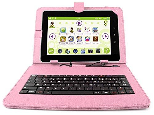 DURAGADGET Support étui Rose + Clavier intégré AZERTY (français) pour Tablette Enfant QILIVE Tactile 10.1 Pouces Kids - Garantie 2 Ans