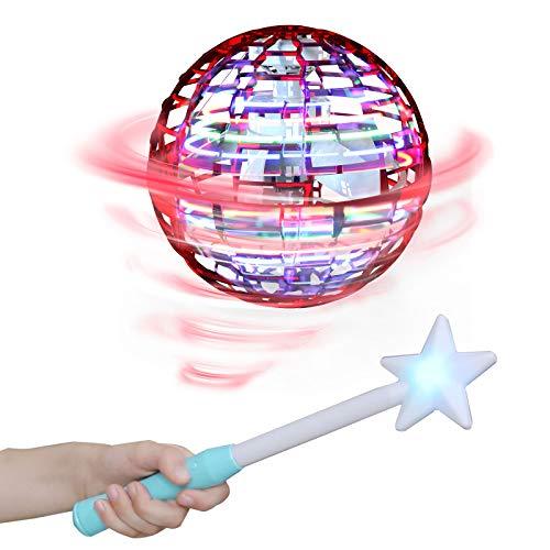 Flynova Fro Flying Spinner Stressabbau Spielzeug Handbetriebene Drohne USB-Aufladung RGB LED-Lichter Spiele Lernspielzeug Ideal für Kinder, Erwachsene,Gruppen,Indoor, Im Freien Interaktive(Rot)