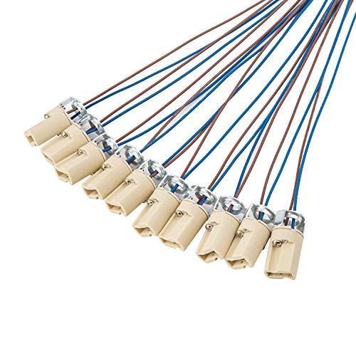 ODETOJOY G9 Lampenfassung Mit isol. Kabelzuleitung Lampensockel Fassung Sockel für LED Halogen Fassung Sockel Keramik mit Qualitäts 0,75mm² kabel (10 Stk. G9 Lampenfassung)