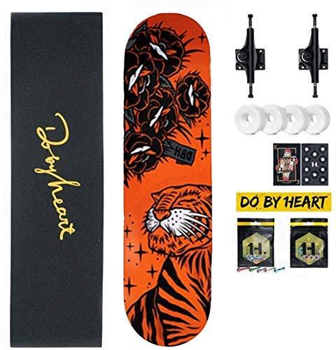 NMDD Anfänger Shortboard Pro Skateboard Longboard Cruiser 8 Lagen Ahorn Deck Double Kick Concave Trick Skateboard für Extremsportarten Freeride Geschenk