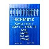 La Canilla ® - 10 Agujas para Máquina de Coser Industrial Schmetz DBx1 1738(A) 16x231 Grosor 110/18 Pistón Redondo