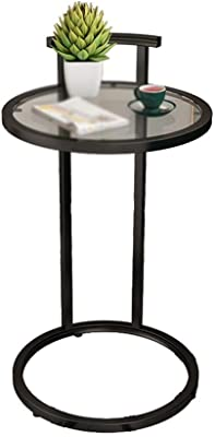 C-J-Xin Glass Bedside Table, Waterproof Small Decorative Flower Stand Home Living Room Hotel Lobby Coffee Table Easy to Move Save Space (Color : C, Size : 40 * 70CM)