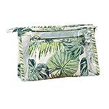 2 Bolsas de aseo cosmetica,para llevar maquillaje fundamental de bolsa de aseo portátil impermeable de bolsa de organizador viaje diaria organizador de artículos de aseo al aire libre,hoja verde