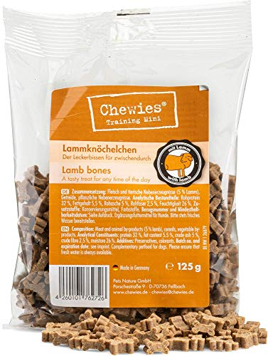 Chewies Hundeleckerli Lamm Knöchelchen - 4 x 125 g - Trainingsleckerli für Hunde - Fleisch Softies ohne Zucker - Hundesnack mit hohem Fleischanteil (500 g)