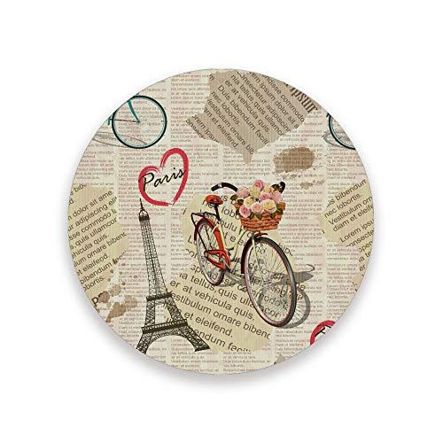 PICKIDS Untersetzer für Getränke, saugfähig, Retro, Paris, Zeitung, Clip-Art, runde Keramik-Untersetzer für kalte Getränke, Kaffeetasse, Glasbecher, Keramik- und Holzpads, mehrfarbig, 0.20x3.9inx2