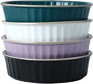Bakeware Household Simple Striped Cake Baking Pan (4 Pcs) Ceramic Cheese Baked Rice Plate Kitchen Restaurant Baking Tablew...