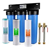 """iSpring WGB32BM 3-Stage Whole House Water Filtration System (w/ 20"""" x 4.5"""" Sediment, Carbon, and Iron & Manganese Reducing Filters) w/ 3/4'' Push-Fit Braided Stainless Steel Hose Connectors"""
