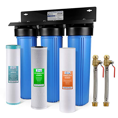"iSpring WGB32BM 3-Stage Whole House Water Filtration System (w/ 20"" x 4.5"" Big Blue Sediment, Carbon, and Iron & Manganese Reducing Filters) w/ 3/4"