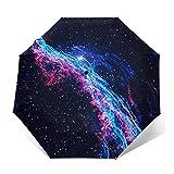 Paraguas Plegable Automático Impermeable Nebulosa de la Escoba de Bruja, Paraguas De Viaje Compacto a Prueba De Viento, Folding Umbrella, Dosel Reforzado, Mango Ergonómico