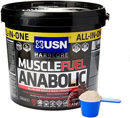 USN Muscle Fuel Anabolic Schokolade 4Kg, Energiefördernder All-in-One Weight Gainer zum Masse- und Muskelaufbau, Protein Shake Pulver für Hardgainer