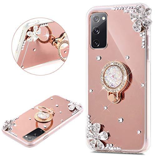 kompatibel mit Samsung Galaxy S20 FE Hülle Glitzer Spiegel TPU Schutzhülle Silikon Hülle für Galaxy S20 FE Glänzend Kristall Blumen Silikon Handyhülle Handytasche mit Ring Ständer Halter,Rose Gold