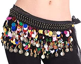 ZYZRYP Belly Dance Hip Belts Scarf Rainbow Sexy Women Cheap Belly Dancing Coin Scarves Wrap Belt Waistband Easy-to-use (Color : Orange, Size : One Size)