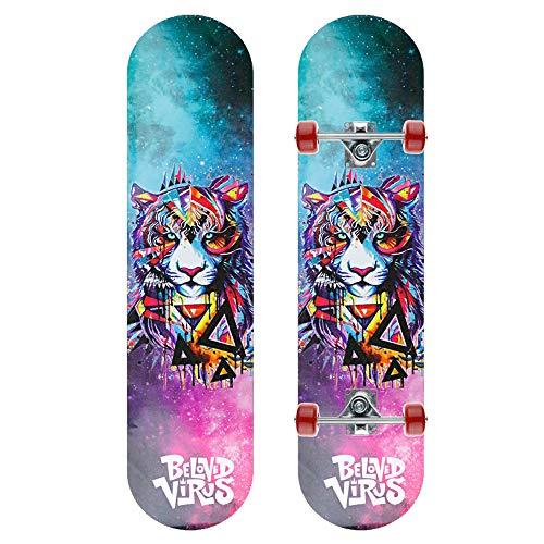 WRISCG Skateboard Kinder, Komplettboard Deck 8-lagigem Ahornholz Kinder-Skateboard, PVC Rollen, Hohe Qualität Kugellager, Geschenk für Jugendliche Kinder Jungen Mädchen,C
