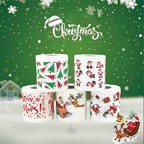 5/6PCS Professional Toilet Paper for Christmas, Individually Wrapped Standard Rolls, Santa Claus Toliet Pattern Two layers Per Roll 250 Sheets,Christmas Toys for kids Adult (5PCS, Multicolor)