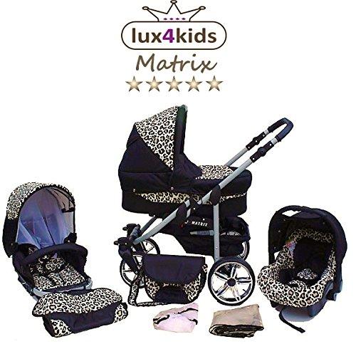 Chilly Kids Matrix II Kinderwagen Komplettset (Autositz & Adapter, Regenschutz, Moskitonetz, Schwenkräder) 39 Schwarz & Leo