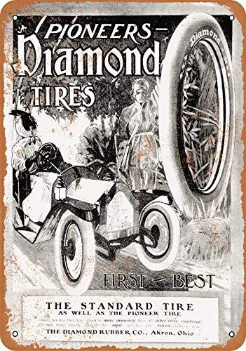 Mulrcks 20 x 30 cm 1910 Diamond Pioneer Tires Vintage Look Metal Sign Decoración del hogar 20 x 30 cm