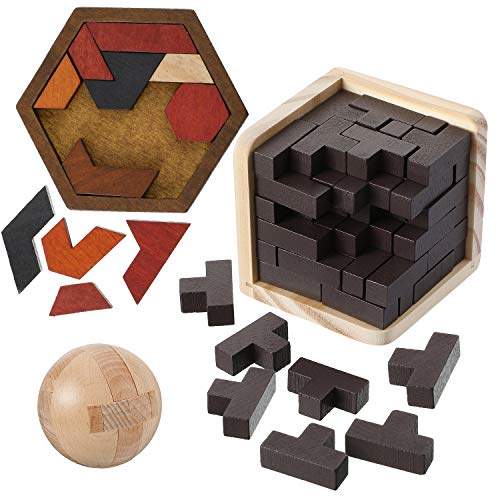 Wooden Brain Teaser Puzzle 1 Piece Wooden Brain Teaser Puzzle Cube 1 Piece Puzzle Wooden Ball 1 Piece Teasers Hexagon Tangram Puzzle for Intellectual Game Entertaining and Educational Tools