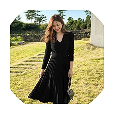 Pleated Knitted Dress Women Autumn Winter Fashion V Neck Long Maxi Knitwear Female Vestidos,Black,XL by Big Incisors