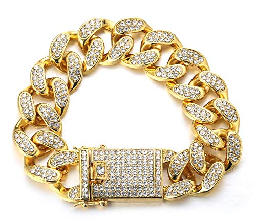 HALUKAKAH Cadena de Oro Iced out,20MM Cadena Cubana para Hombres Miami Chapado en Oro Real de 18k Pulsera 22cm,Cz Completo Diamante,Regalo para Él
