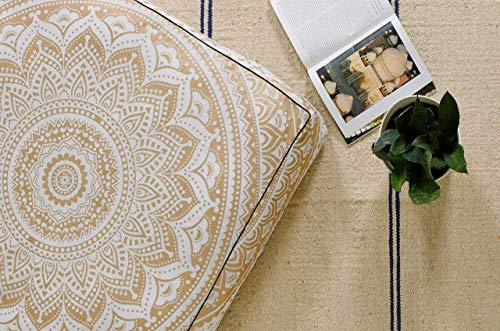Popular Handicrafts Square Hippie Mandala Floor Pillow Ottoman Pouf Cover - Indian Ombre Daybed Oversized Cotton Cushion Cover Heavy Duty Zipper Seating Ottoman Dog - Pets Bed Cover 22' Gold